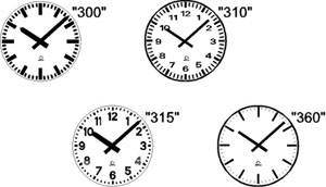 Standard Analogue Clock Face Styles