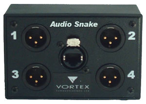 Audio Snake provides 4 analogue or digital audio channels over one CAT-x cable
