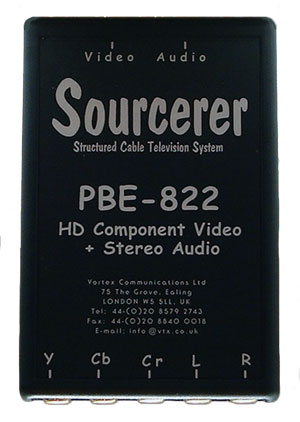 PBE-822 sends HD Component video + audio